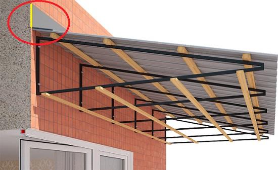 Estructura Metálica Con Techo A Dos Aguas Al Balcón Un